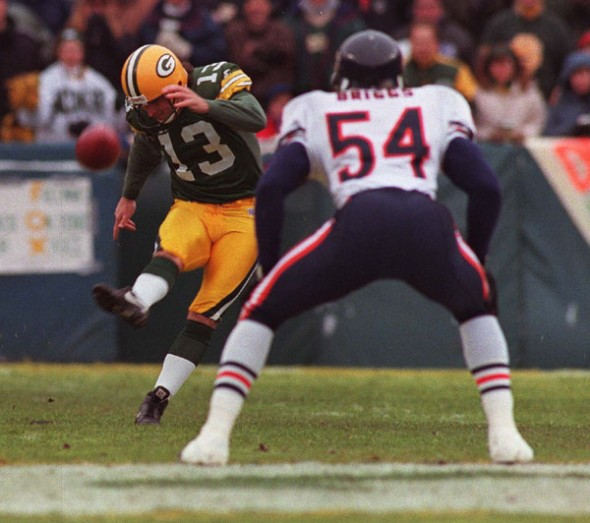 Packer kicker Chris Jacke was assigned kickoff duties.(Mark Hoffman photo)