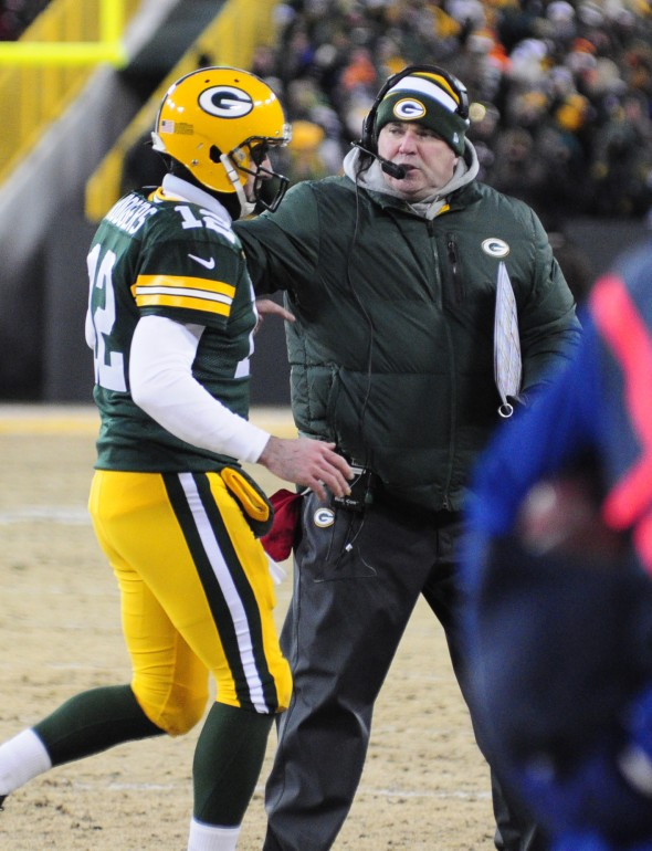 Mike McCarthy was without Aaron Rodgers for more than a month in 2013. Raymond T. Rivard photograph