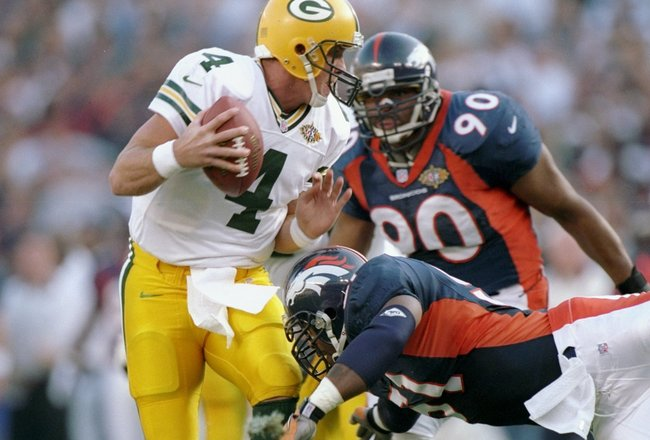 Brett Favre and the Green Bay Packers lost to the Denver Broncos in Super Bowl XXXII.