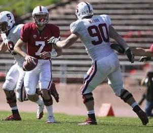 Stanford Cardinal defensive end Ben Gardner (49) tags quarterback Brett Nottingham (7) for a sack with defensive end Josh Mauro (90) during the cardinal and white spring game. Kelley L Cox-USA TODAY Sports