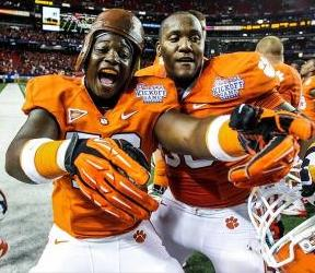 Clemson Tigers offensive tackle Shaq Anthony (76) and offensive linesman Brandon Thomas (63) celebrate beating the Auburn Tigers. Daniel Shirey-USA TODAY Sports