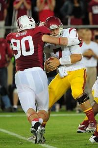 Stanford Cardinal defensive end Josh Mauro (90) tackles Southern California Trojans quarterback Matt Barkley (7). Kyle Terada-USA TODAY Sports