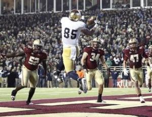 Nov 10, 2012; Boston, MA, USA; Notre Dame Fighting Irish tight end Troy Niklas (85) catches a touchdown against the Boston College Eagles during the first half at Alumni Stadium. Mandatory Credit: Mark L. Baer-USA TODAY Sports