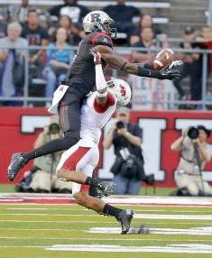 Sep 21, 2013; Piscataway, NJ, USA; Rutgers Scarlet Knights wide receiver Brandon Coleman (17) makes reception against Arkansas Razorbacks cornerback Tevin Mitchel (8). Jim O'Connor-USA TODAY Sports