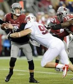 Stanford Cardinal defensive end Josh Mauro (90) sacks and causes Washington State Cougars quarterback Connor Halliday (12). Steven Bisig-USA TODAY Sports
