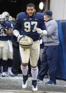 Pittsburgh Panthers defensive lineman Aaron Donald (97) takes the field on senior day against the Miami Hurricanes. Charles LeClaire-USA TODAY Sports