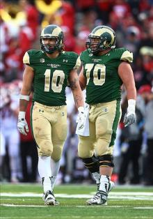 Colorado State Rams tight end Crockett Gillmore (10) and offensive lineman Weston Richburg (70). Mark J. Rebilas-USA TODAY Sports