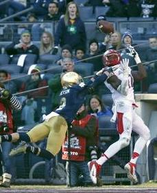 Rutgers Scarlet Knights wide receiver Brandon Coleman (17) beats Notre Dame Fighting Irish cornerback Bennett Jackson (2). Andrew Mills/THE STAR-LEDGER via USA TODAY Sports