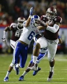 Texas A&M Aggies tight end Cameron Clear (85) works to get by Duke Blue Devils cornerback Ross Cockrell (6) after making a reception. Paul Abell-USA TODAY Sports