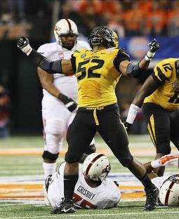 Missouri Tigers defensive lineman Michael Sam (52) reacts after a play against the Oklahoma State Cowboys. Kevin Jairaj-USA TODAY Sports