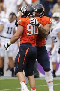 Virginia Cavaliers defensive tackle Brent Urban (99) and defensive end Jake Snyder (90) celebrate after a sack against the Brigham Young Cougars. Rafael Suanes-USA TODAY Sports