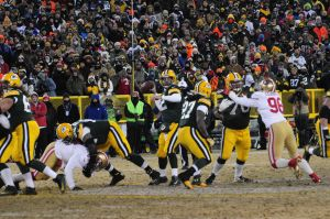 Protecting Aaron Rodgers is the biggest goal of the Gren Bay Packers' offensive line. Raymond T. Rivard photograph