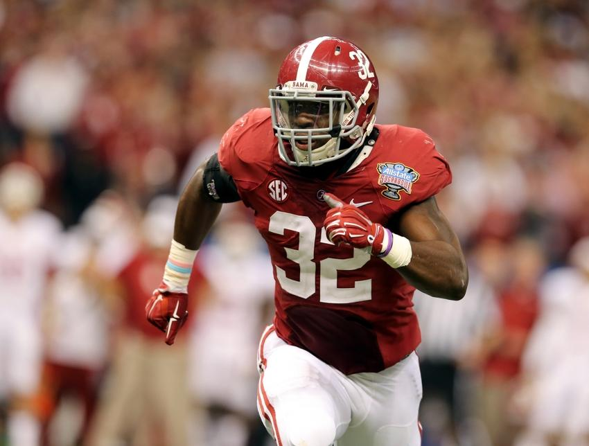 Jan 2, 2014; New Orleans, LA, USA; Alabama Crimson Tide linebacker C.J. Mosley (32) runs toward Oklahoma Sooners ball carrier during the second half of the Sugar Bowl at the Mercedes-Benz Superdome. Mandatory Credit: Chuck Cook-USA TODAY Sports
