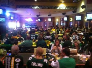 Crowd at J'S Sports Grill for a Packer game