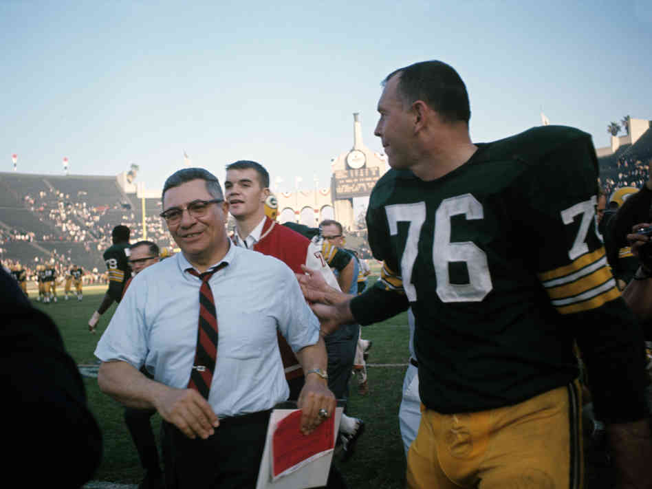 Bob Skoronski with Vince Lombardi at the conclusion of Super Bowl I. Getty Images