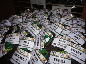 Name tags and lanyard help make people feel apart of the Nashville Packer family.