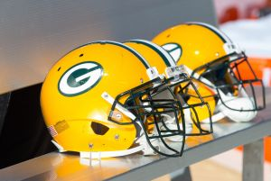 Green Bay Packers helmets prior to the game against the Detroit Lions at Lambeau Field in 2013. Jeff Hanisch-USA TODAY Sports photograph
