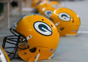 Green Bay Packers helmets sit on the field during the game against the Seattle Seahawks at Lambeau Field. Jeff Hanisch-USA TODAY Sports
