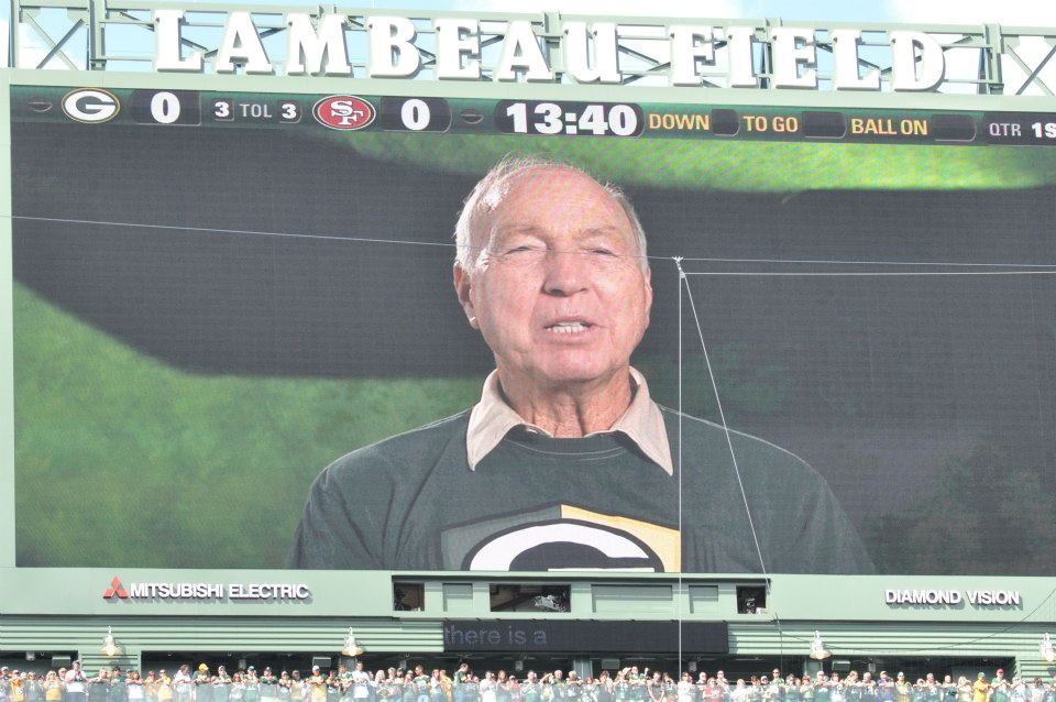 A recording of Bart Starr plays to those at Lambeau Field prior to the start of a game in 2012. Raymond T. Rivard photograph