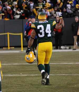 Ahman Green leaves Lambeau Field for the last time. Raymond T. Rivard photograph