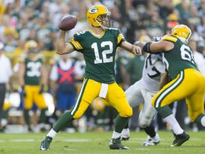 Green Bay Packers quarterback Aaron Rodgers (12). Jeff Hanisch-USA TODAY Sports