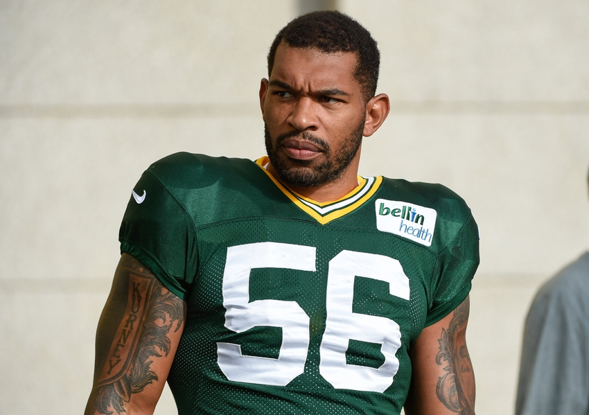 Green Bay Packer linebacker Julius Peppers during training camp at Ray Nitschke Field. Benny Sieu-USA TODAY Sports