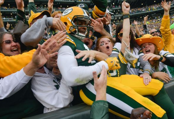 The Lambeau Leap has become the norm in Green Bay over the past couple of decades - a celebration that closely links Packers players with the fans. Benny Sieu-USA TODAY Sports photograph