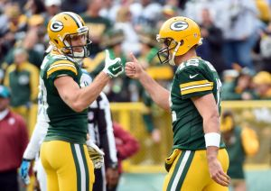 Aaron Rodgers and wide receiver Jordy Nelson celebrate after a Packers touchdown in the third quarter against the Carolina Panthers at Lambeau Field. Benny Sieu-USA TODAY Sports photograph