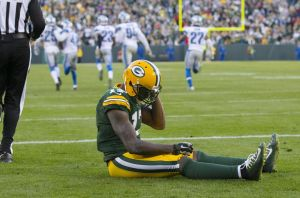 Green Bay Packers wide receiver Davante Adams reacts after dropping a pass on a two point conversion attempt during the fourth quarter against the Detroit Lions at Lambeau Field.  Detroit won 18-16.  Jeff Hanisch-USA TODAY Sports