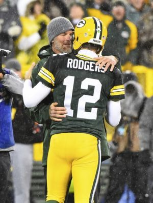 Nov 26, 2015; Green Bay, WI, USA; Green Bay Packers former quarterback <a rel=