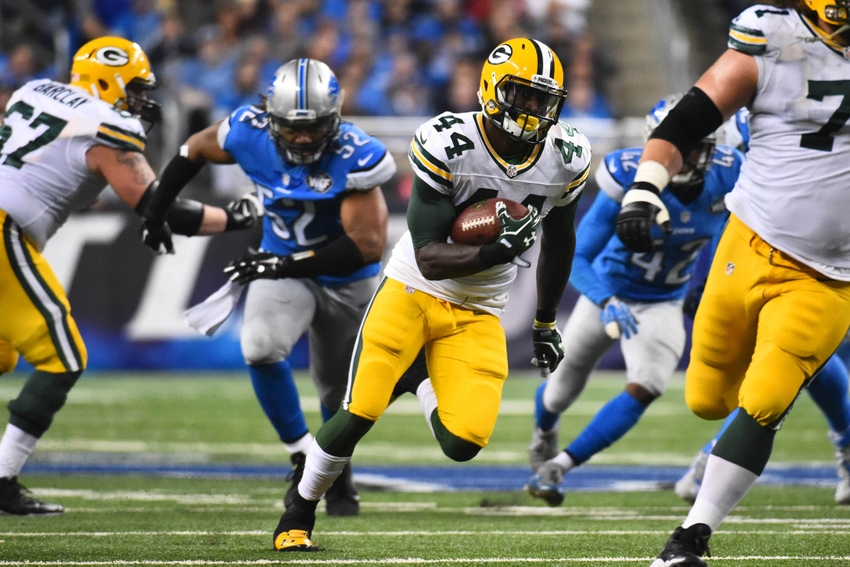 Dec 3, 2015; Detroit, MI, USA; Green Bay Packers running back James Starks (44) runs the ball during the third quarter against the Detroit Lions at Ford Field. Tim Fuller-USA TODAY Sports