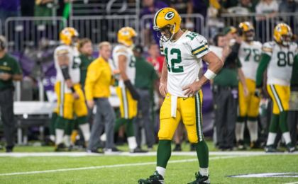 Sep 18, 2016; Minneapolis, MN, USA; Green Bay Packers quarterback Aaron Rodgers (12) reacts during the third quarter against the Minnesota Vikings at U.S. Bank Stadium. The Vikings defeated the Packers 17-14. Brace Hemmelgarn-USA TODAY Sports