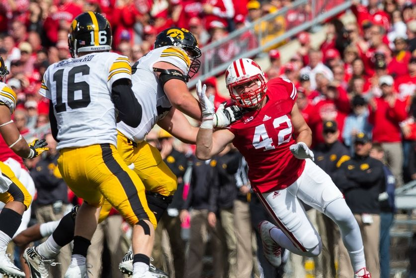 Wisconsin Badgers linebacker T.J. Watt (42) during the game against the Iowa Hawkeyes at Camp Randall Stadium. Iowa won 10-6. Mandatory Credit: Jeff Hanisch-USA TODAY Sports