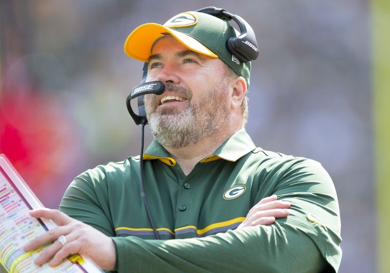 Sep 25, 2016; Green Bay, WI, USA; Green Bay Packers head coach Mike McCarthy looks on during the second quarter against the Detroit Lions at Lambeau Field. Mandatory Credit: Jeff Hanisch-USA TODAY Sports
