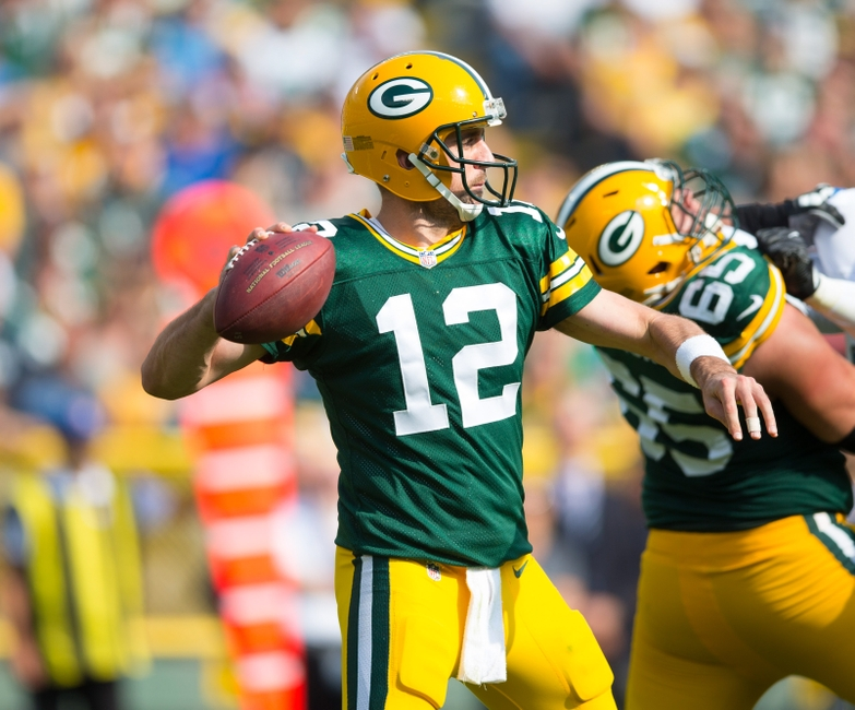Sep 25, 2016; Green Bay, WI, USA; Green Bay Packers quarterback Aaron Rodgers (12) during the game against the Detroit Lions at Lambeau Field. Green Bay won 34-27. Mandatory Credit: Jeff Hanisch-USA TODAY Sports