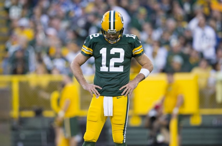 Nov 6, 2016; Green Bay, WI, USA; Green Bay Packers quarterback Aaron Rodgers (12) reacts following a play during the second quarter against the Indianapolis Colts at Lambeau Field. Mandatory Credit: Jeff Hanisch-USA TODAY Sports