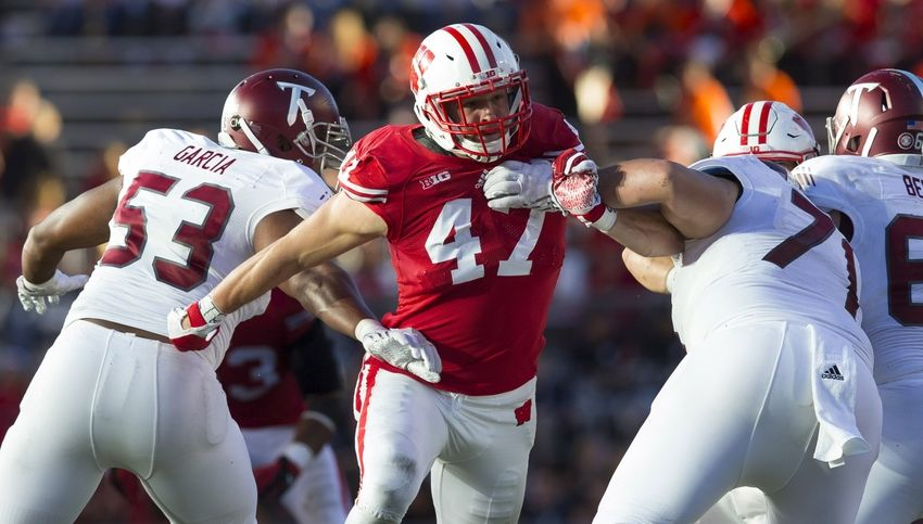 Wisconsin Badgers linebacker Vince Biegel (47) rushes the quarterback during the fourth quarter against the Troy Trojans at Camp Randall Stadium. Wisconsin won 28-3. Mandatory Credit: Jeff Hanisch-USA TODAY Sports