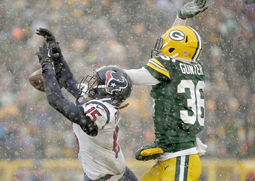 Green Bay Packers cornerback LaDarius Gunter (36) breaks up a pass to Houston Texans wide receiver Will Fuller (15) at Lambeau Field. Jim Matthews/Green Bay Press Gazette via USA TODAY Sports
