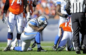 "Tulloch ""Tebowing"" after his sack."