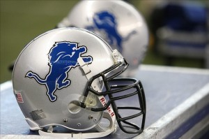 Aug 15, 2009; Detroit, MI, USA; Detroit Lions helmets in the teams bench area with the new logo during the game against the Atlanta Falcons at Ford Stadium. The Lions beat the Falcons 27-26. Mandatory Credit: Matthew Emmons-US PRESSWIRE
