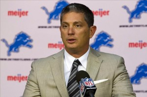 April 27, 2012; Allen Park, MI, USA; Detroit Lions head coach Jim Schwartz introduces their first round draft pick Riley Reiff at a press conference at Detroit Lions training facility. Mandatory Credit: Rick Osentoski-US PRESSWIRE