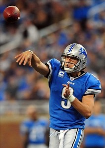 Oct 23, 2011; Detroit, MI, USA; Detroit Lions quarterback Matthew Stafford (9) throws a pass during the second quarter against the Atlanta Falcons at Ford Field. Mandatory Credit: Andrew Weber- US PRESSWIRE