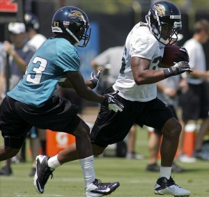 May 6, 2012; Jacksonville FL, USA; Jacksonville Jaguars cornerback Dontrell Johnson (43) chases running back Joe Banyard (35) during rookie mini camp at Florida Blue Health
