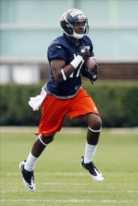 May 11, 2012; Lake Forest, IL, USA; Chicago Bears receiver Alshon Jeffery during rookie minicamp at Halas Hall.  Mandatory Credit: Jerry Lai-US PRESSWIRE