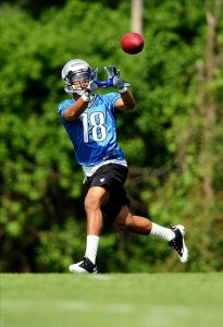 May 21, 2012; Allen Park, MI, USA; Detroit Lions wide receiver Troy Burrell (18) during organized team activities at Detroit Lions training facility. Mandatory Credit: Andrew Weber-US PRESSWIRE