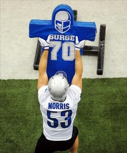 May 29, 2012; Allen Park, MI, USA; Detroit Lions linebacker Slade Norris (53) during organized team activities at Lions training facility. Mandatory Credit: Andrew Weber-US PRESSWIRE
