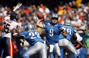 Sep 12, 2010; Chicago, IL, USA; Detroit Lions quarterback Matthew Stafford (9) throws a pass during the second quarter against the Chicago Bears at Soldier Field. Mandatory Credit: Jerry Lai-US PRESSWIRE
