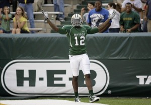 Oct 23, 2010; Waco, TX, USA; Baylor Bears wide receiver Josh Gordon (12) celebrates a touchdown against the Kansas State Wildcats in the first quarter at Floyd Casey Stadium. Mandatory Credit: Brett Davis-US PRESSWIRE