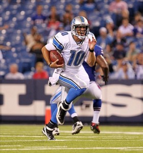 Sept 1, 2011; Orchard Park, NY, USA;  Detroit Lions quarterback Zac Robinson (10) runs with the ball during the second half against the Buffalo Bills at Ralph Wilson Stadium.  Lions beat Bills 16 - 6.  Mandatory Credit: Timothy T. Ludwig-US PRESSWIRE