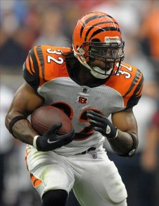 Jan 7, 2012; Houston, TX, USA; Cincinnati Bengals running back Cedric Benson (32) carries the ball during the AFC Wild Card Playoff game against the Houston Texans at Reliant Stadium. The Texans defeated the Bengals 31-10. Mandatory Credit: Kirby Lee/Image of Sport-US PRESSWIRE